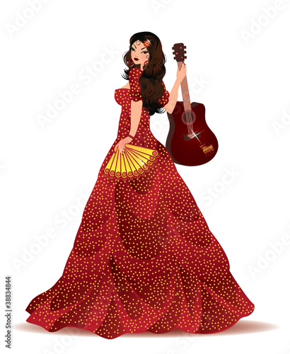 Spanish girl, vector illustration