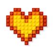 Heart made from plastic blocks