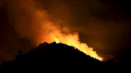 Wildfire Raging In Hills (HD)