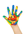 bunte Kinderhand mit Smiley