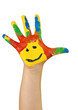 lachende bunte Kinderhand rechts