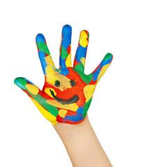 bunte Kinderhand mit Smiley
