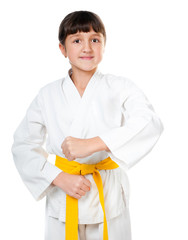little girl in a kimono with a yellow sash