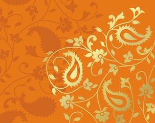 paisley floral pattern textile swatch, India