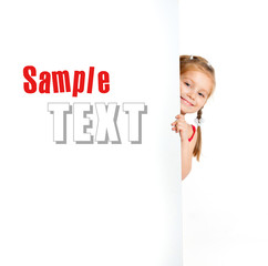 girle beside a white blank with sample text