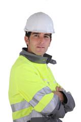 Man wearing high-visibility jacket