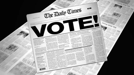 Vote! - Newspaper Headline (Reveal + Loops)