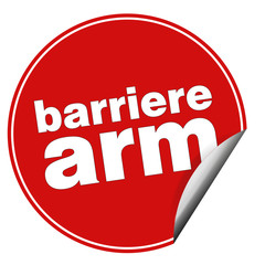 barrierearm sticker aufkleber button