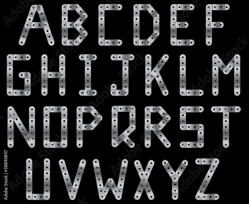 Metal strip alphabet