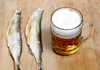Dead dry salty fish and beer