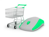 E-shopping - shopping cart and computer mouse