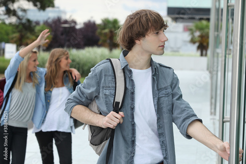 Teenagers going to school
