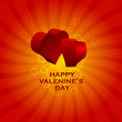 Happy Valentine's card with hearts in 3D effect.