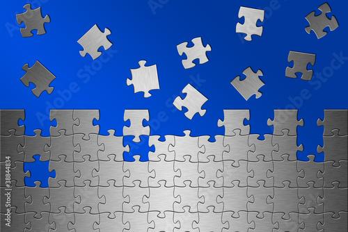 Puzzle Aluminium gebürstet blauer Hintergrund