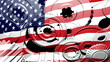 American Industry - USA Flag Gears Turning (Loop)