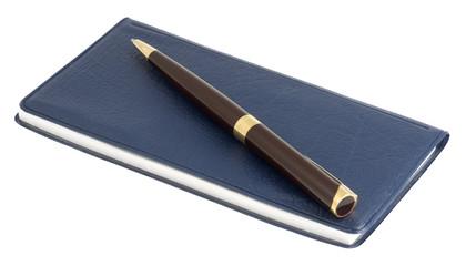 pen on checkbook over white