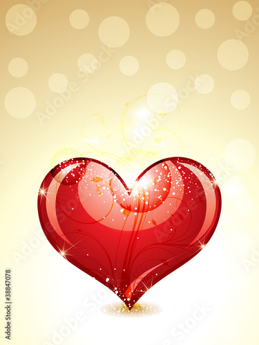 abstract glossy heart with gold background