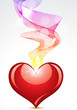 abstract heart with colorful smoke