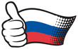Russia flag. Hand showing thumbs up.