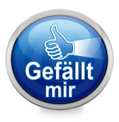 """""""Gefällt mir"""" Button blau in 3D"""