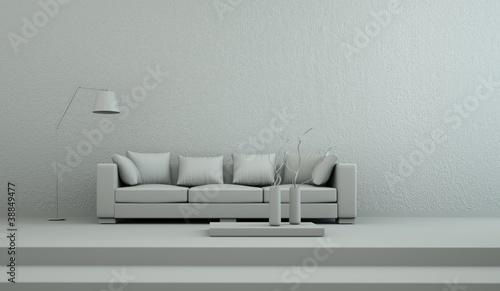 Modell - Sofa schlicht mit Stehlampe
