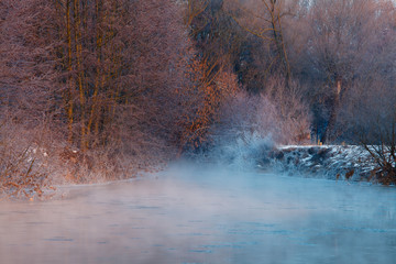 cold river with fog