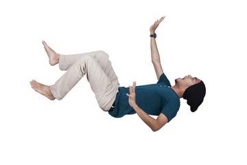 Man screaming and falling pose