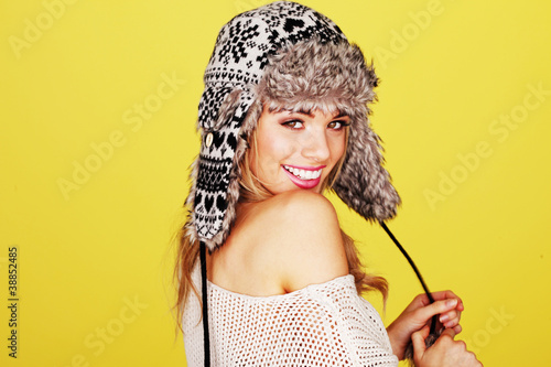 Vivacious Woman In Woolly Winter Hat