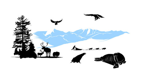 Reservation with winter animals on the snow mountains background