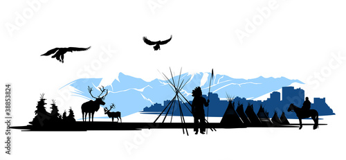 American Indian on the city buildings and snow mountains © Stockerteam