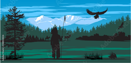 In de dag Indiërs American Indian on the pine wood and snow mountains background