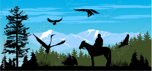 Horseman on the pine wood and snow mountains background © Stockerteam