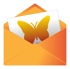 Courrier, email, message, invitation, enveloppe, papillon