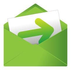 Courrier, email, message, invitation, enveloppe, flèche, icône