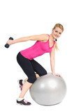 Standing Bent-Over Dumbbell Triceps Extension on Fitnes Ball, ph poster