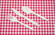 Fork knife and spoon on picnic tablecloth
