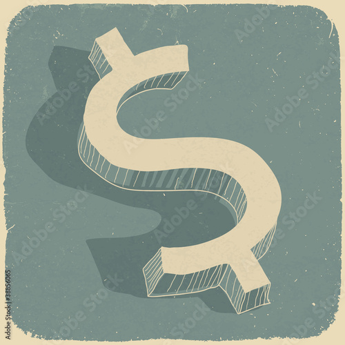 Retro dollar sign. Conceptual vector background