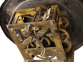 mechanism of the old wall clock