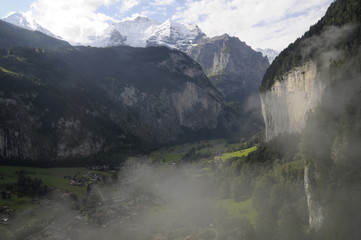 Lauterbrunnen valley under morning mist