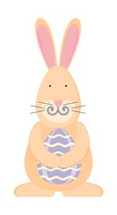 Easter bunny with egg, vector