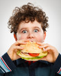 Boy eating big sandwich