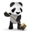 3d Panda bear keeps a tidy house