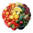buntes Gemüse, Kreisförmig angeordnet