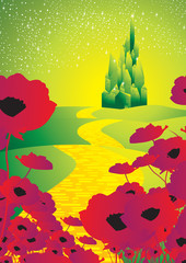 emerald city and poppies