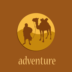 Logo adventure, caravan in the desert # Vector