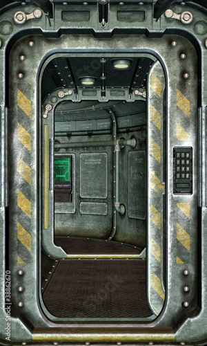 spaceship hatch and corridor background - 38862670