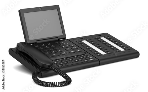 modern office desk phone isolated on white background