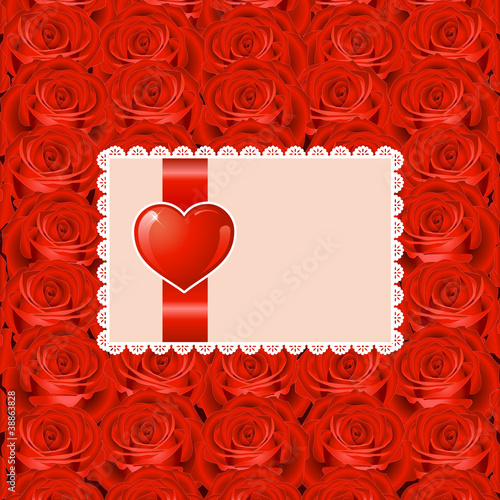 Valentine's day background with heart and roses