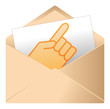 Courrier, email, message, invitation, enveloppe, main, humain