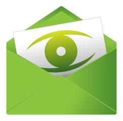 Courrier, email, message, invitation, enveloppe, œil, vision